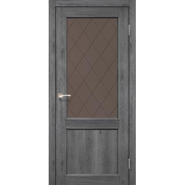 Дверное полотно KORFAD CL-02/V1 со штапиком (стекло сатин бронза+рисунок М1/М2)