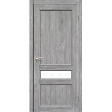 Дверное полотно KORFAD CL-07/V1 со штапиком (глухое+маленькое стекло сатин белый+рисунок М1/М2)